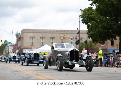Auburn, Indiana, USA - September 9, 2018 The Auburn Cord Duesenberg Festival, An 1929 Auburn classic car driving down the street during the parade