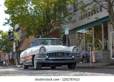 Auburn, Indiana, USA - September 9, 2018 The Auburn Cord Duesenberg Festival, An Packard Caribbean classic car parked on the streets of downtown Auburn Indiana