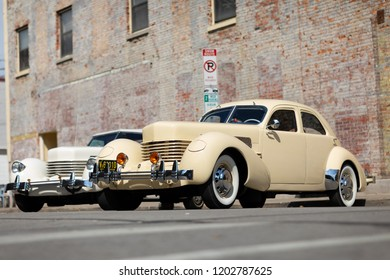 Auburn, Indiana, USA - September 9, 2018 The Auburn Cord Duesenberg Festival, A Cord classic car parked on the streets of downtown Auburn Indiana