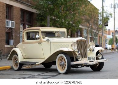 Auburn, Indiana, USA - September 9, 2018 The Auburn Cord Duesenberg Festival, An Auburn classic car parked on the streets of downtown Auburn Indiana