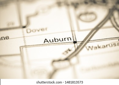 Auburn. Kansas. USA on a geography map