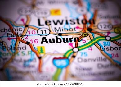 Auburn. Maine. USA on a map