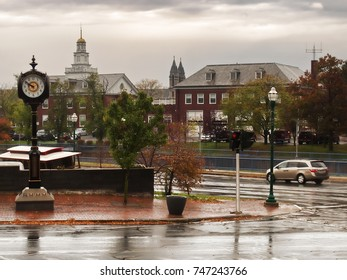 Auburn , New York, USA. View of the city of Auburn, New York from Loop Street, looking west, toward the city with decorative clock and Auburn City Clerk Building in the background