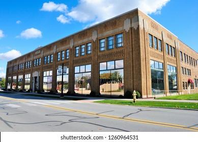 Auburn, USA - October 20, 2018 - Auburn Cord Duesenberg Automobile Museum building in Auburn, Indiana