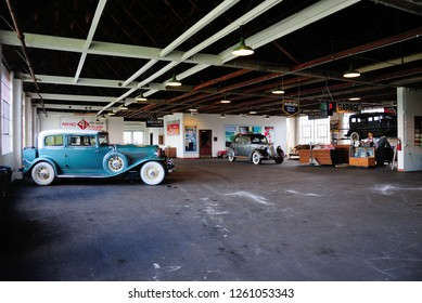 Auburn, USA - October 20, 2018 - Classic Auburn cars at the National Auto and Truck Museum building in Auburn, Indiana