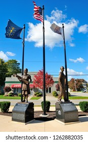 Auburn, USA - October 20, 2018 - Monument to the employees of Auburn Automobile company next to the Cord Duesenberg Automobile Museum in Auburn, Indiana