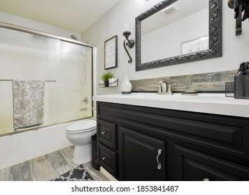 Auburn, WA / USA - Aug. 31, 2020: Modern residential bathroom interior