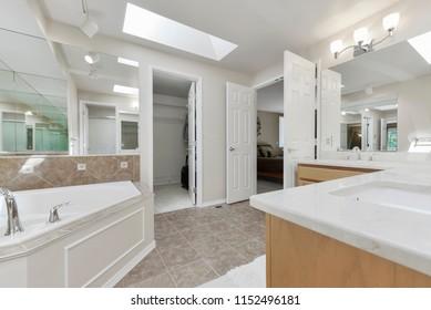 Auburn, WA / USA - Aug. 5, 2018: Modern bathroom interior