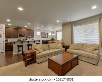 Auburn, WA / USA - Feb. 16, 2020: Luxury living room and kitchen interior