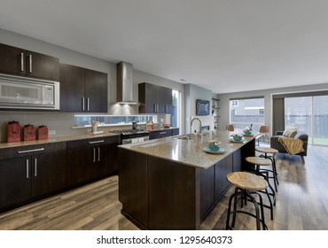 Auburn, WA / USA - Jan. 22, 2019: Luxury kitchen interior