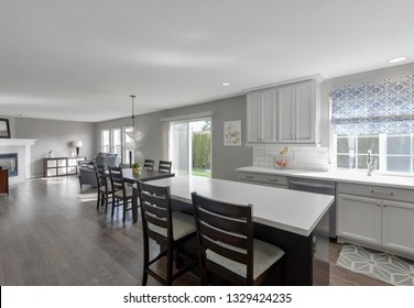 Auburn, WA / USA - March 1, 2019: Modern kitchen and living room interior