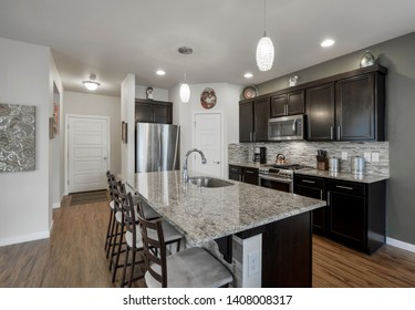 Auburn, WA / USA - May 21, 2019: Modern kitchen interior