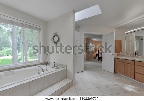 Auburn, WA / USA - May 31, 2018: Luxury bathroom interior