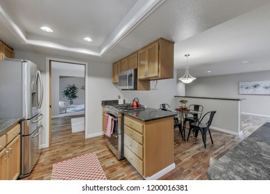 Auburn, WA / USA - Oct. 9, 2018: Modern kitchen and dining room interior