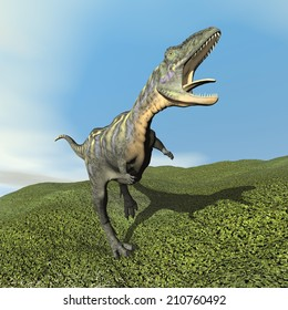 Aucasaurus dinosaur roaring while walking on the grass by day - 3D render