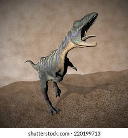 Aucasaurus dinosaur roaring while walking on the grass by day, vintage style - 3D render