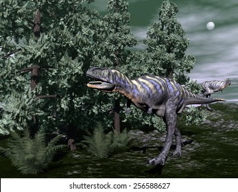 Aucasaurus dinosaur running among wollemia trees and onychiopsis plants by night - 3D render