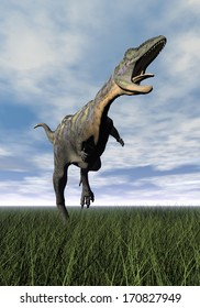 Aucasaurus dinosaur running on the green grass with mouth open by cloudy day