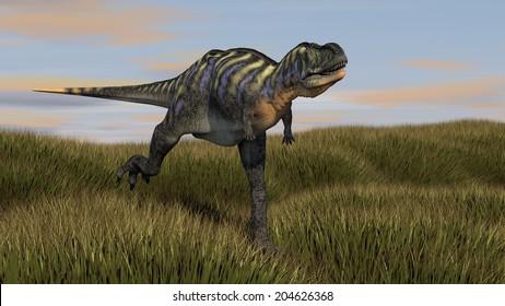 aucasaurus running across grassland