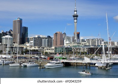 AUCKLAND - AUG 05 2017:Auckland skyline from Viaduct Harbour Auckland is the finance center of New Zealand with population of 1.5 million people.