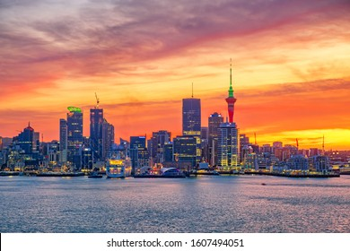 Auckland City New Zealand - Dec 22 2019: Biggest city in New Zealand North Island. New Zealand financial district and business office buildings.