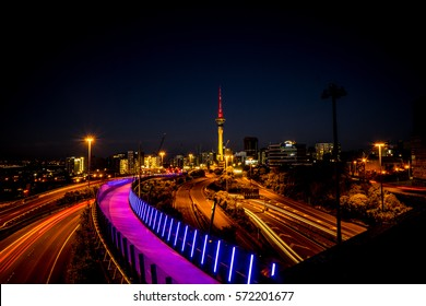 Auckland City Night Shot with lights of buildings and traffic