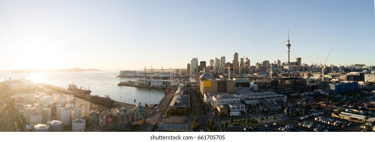 Auckland City Skyline Aerial Panorama