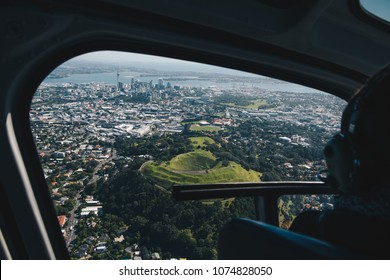 Auckland City Skyline as seen from a helicopter, New Zealand