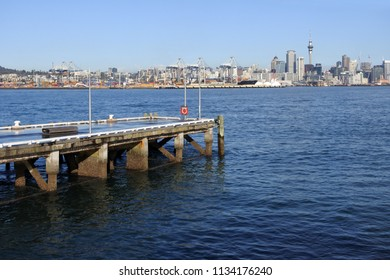 Auckland city skyline as view from Waitemata harbour, New Zealand.