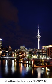 Auckland City and Skytower at Night, New Zealand