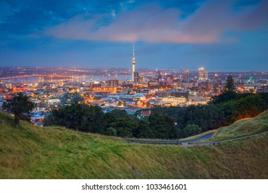 Auckland. Cityscape image of Auckland skyline, New Zealand taken from Mt. Eden at dawn.