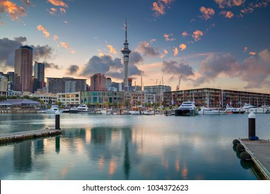 Auckland. Cityscape image of Auckland skyline, New Zealand during sunrise.
