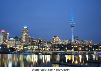 Auckland cityscape from Viaduct at night time, night landscape. long exposure and selective focus at building, New Zealand