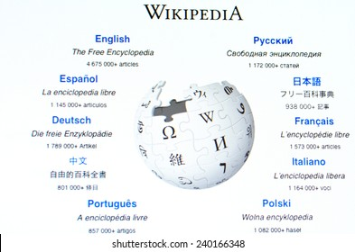 AUCKLAND - DEC 25 2014:Wikipedia homepage.As of February 2014, it had 18 billion page views and nearly 500 million unique visitors each month.