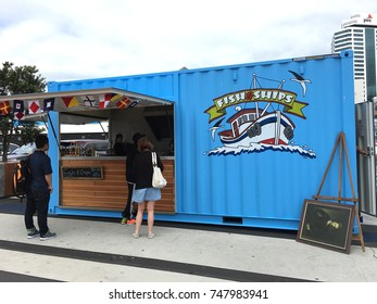 AUCKLAND- Dec. 27: A converted container van being used as a Fish and Chips food stall  at Viaduct Harbor in Auckland, New Zealand taken on Dec. 27, 2016.