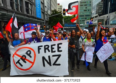AUCKLAND - FEB 04 2016:Thousands of anti-TPPA protesters marched and blocks major roads and intersections in Auckland as 12 Pacific-rim countries signed the TPPA trade deal in Sky City, Auckland today