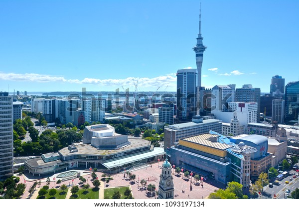 AUCKLAND - FEB 15 2018:Aerial view of Auckland city Central Business District skyline. Auckland is the third best city in the world for quality of life, according to an an international survey.