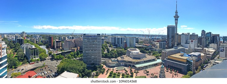 AUCKLAND - FEB 15 2018:Panoramic aerial view of Auckland city Central Business District skyline. Auckland is the third best city in the world for quality of life, according to an international survey.
