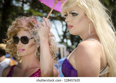 AUCKLAND - FEBRUARY 10: Drag queens were among the estimated 15,000 people who took part in the Auckland Big Gay Out Festival, celebrating gay pride, on February 10, 2013 in Auckland, New Zealand.