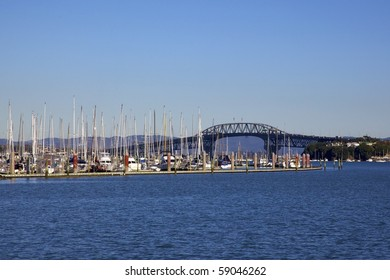 Auckland Harbour Bridge from Bayswater Marina, North Island, New Zealand.