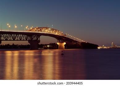 Auckland Harbour Bridge lit up at night