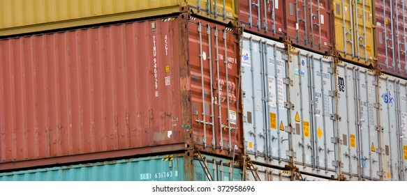 AUCKLAND - JAN 31 2016:Intermodal shipping containers.They designed and built for intermodal freight transport from ship to rail to truck without unloading and reloading their cargo.