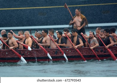 AUCKLAND - JULY 06 2017:Maori waka heritage sailing in Auckland, New Zealand. Maori watercraft, usually used for fishing and river travel and war canoes can reach up to 40 metres (130 ft) long.