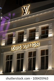 AUCKLAND - JUNE 5: The new Louis Vuitton store in Auckland's Queen Street is lit by floodlight - marking the opening of the flagship fashion house on June 5, 2008 in Auckland, New Zealand.