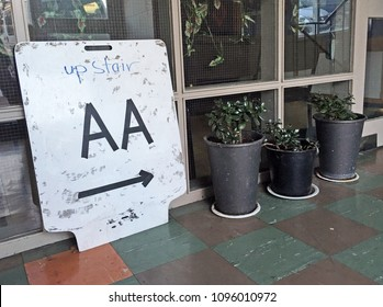 AUCKLAND - MAR 19 2018:Alcoholics Anonymous meeting place.AA is an international aid fellowship whose stated purpose is to enable its members to stay sober and help other alcoholics achieve sobriety