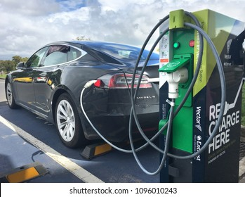 AUCKLAND - MAR 24 2018: Rapid electric vehicle charging station. On Nov 2016 Vectors networks had 9,095 rapid charging stations around New Zealand with an average 20 minutes charge time.