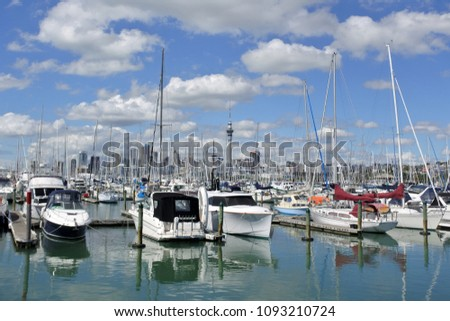 AUCKLAND - MAR 25 2018:Yachts mooring in Westhaven Marina against Auckland skyline.Westhaven Marina, the largest marina in the Southern Hemisphere