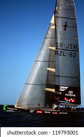 AUCKLAND - MARCH 1:Team NZ sails it yacht during the Americas cup of 2003 on March 01 2003 in Auckland New Zealand.It was contested between Team NZ and the winner of the 2003 Louis Vuitton Cup Alinghi