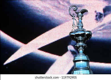 AUCKLAND - MARCH 1:The America's Cup trophy in the final ceremony on March 01 2003 in Auckland New Zealand.It was contested between Team NZ and the winner of the 2003 Louis Vuitton Cup Alinghi