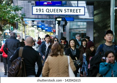 AUCKLAND - MAY 29:Asian people in Queen street on May 29 2013.In 2011, of every 100 Aucklanders, 22 of them are of Asian decent and by 2021, Auckland is expected to have 27% people of Asian decent.